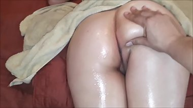 Teen Step Sister oiled big ass getting fucked