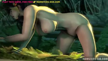 Asian cutie vs gigantic forest 3d monster