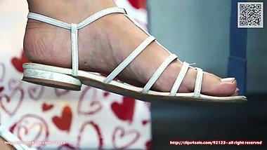 candid flat sandals shoes and sexy feet closeup 4k - full-clip in c4s 92123