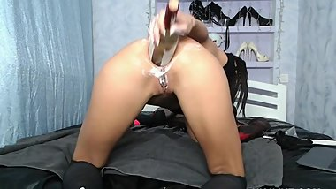 Hotkinkyjo webcam with fist & wine bottle in ass. HKJLIVE 16.08.2018