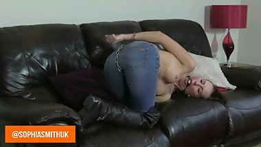 Girl in Cuffs and Jeans Bondage