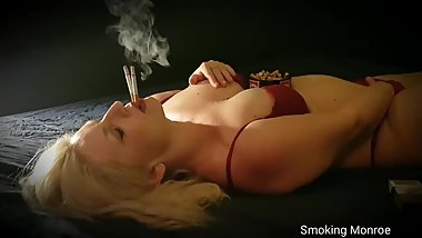 This masturbating and coughing chain-smoker girl is very short of breath