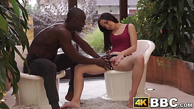 Cockcraving babe stretched in interracial fuck by toe sucker