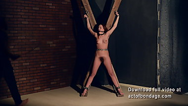 Hairy Lera suffering on a cross. P2. Whipping and bastinado