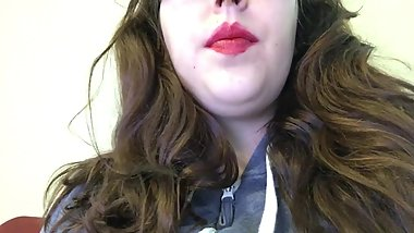 Hot Chubby Brunette Teen Smoking Cork Tip Cigarette in Bright Red Lipstick