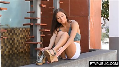 Teen public piss and upskirt