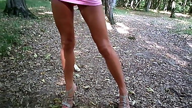 A walk in the woods with high heels in a short dress
