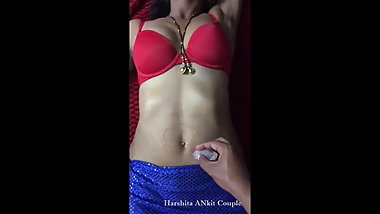 Desi Indian Wife Harshita navel teased with ICE-