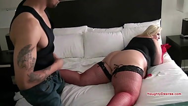 Ass worship for a PAWG in red fishnets