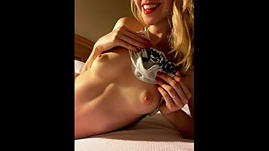 blonde woman showing at home