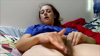 Amazing Teen With A Hairy Pussy Masturbates With Some Help