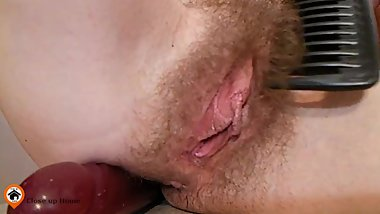 Hairy clit close up