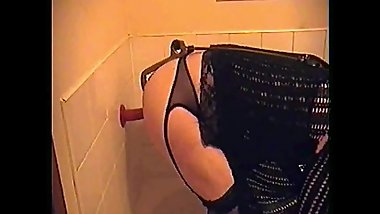 crossdresser takes two anal insertions creams on his dildo and sucks it off