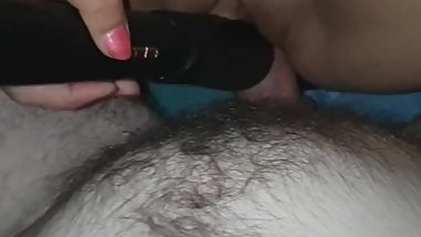Her toy and my dick in her pussy