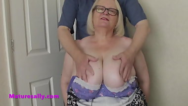 Mature Sally felt up by a boyfriend