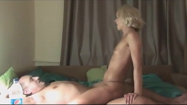 Hot Slender Blonde Sucks and Fucks