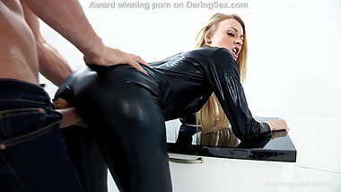 Hottest latex girl gets brutally fucked by big cock