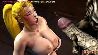Samus in rough standing 3d anal fuck with colossal monster