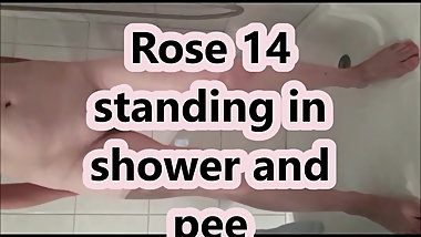 Rose 14 stands in shower and pees for Heinz
