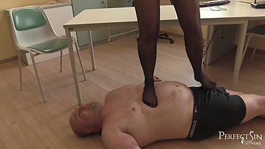 Soft Trampling in Tights - Dominatrix in Little Black Dress