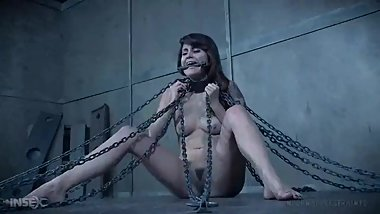 helpless Raquel chained and get torture by whipping and electric