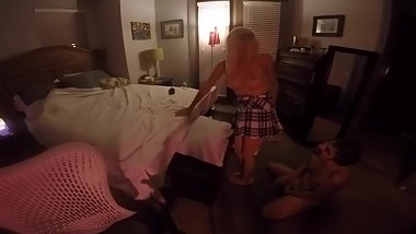 Blonde Schoolgirl has Ass Worshiped, Sucks Cock & 69