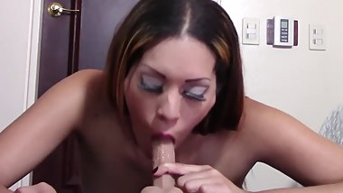I'm a HOT Latina MILF Sucking Little White Cock