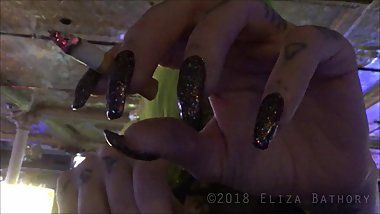 Smoking with Long Nails POV at Public Bar in Casino during Power Outtage