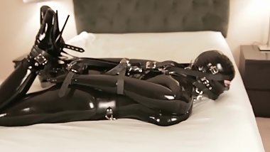 Latex Bondage Slave with Bound, Gagged and Masked punished by Vibrator