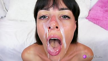 Cumshot compilation on face,mouth and ass Natalie Flowers.