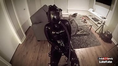 Gasmask Breathplay Tied to Chair