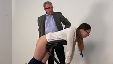 Severe Straping of Nerdy Schoolgirl For Hacking