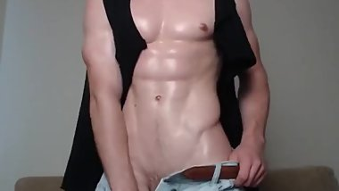 Demian__J Hot Show with Oil and Ripped shirt