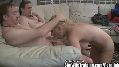Fake Tits Blonde Wife Fucks Two Slut Trainer Cocks