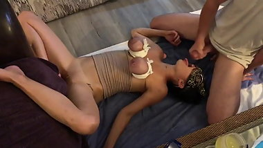 Double dildo and cock suck