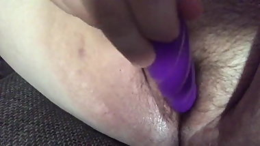 Fat hairy Bitch toys pussy