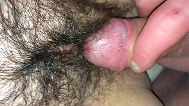 Rubbing my cock on wifes hairy pussy