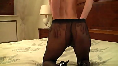 Sexy Brunette Pantyhose And High Heel Tease