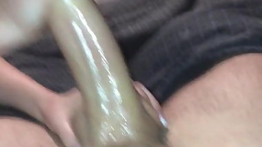 Lubed up frenulum lick handjob cumshot